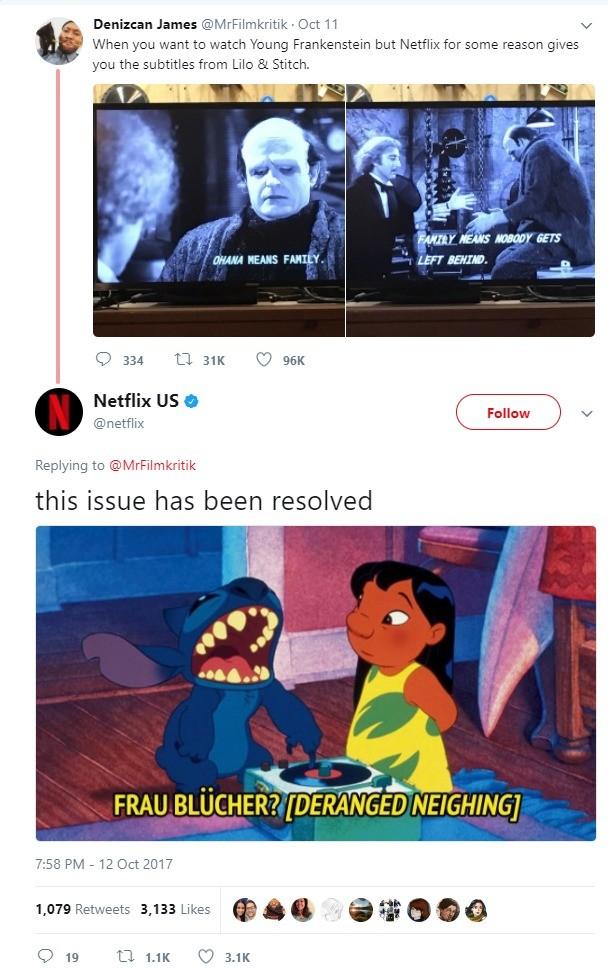 Netflix yes. https://twitter.com/netflix/status/918672160519995393. Denizenn James (eeyh/ - Oct ll at tit When want to watch Young Frankenstein but Netflix fer