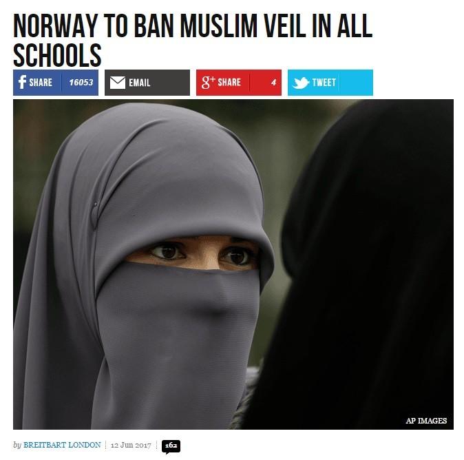 Norways bans headscarf. http://www.breitbart.com/london/2017/06/12/norway-ban-muslim-veil-schools/?utm_source=facebook&utm_medium=social https://www.yahoo.com/n