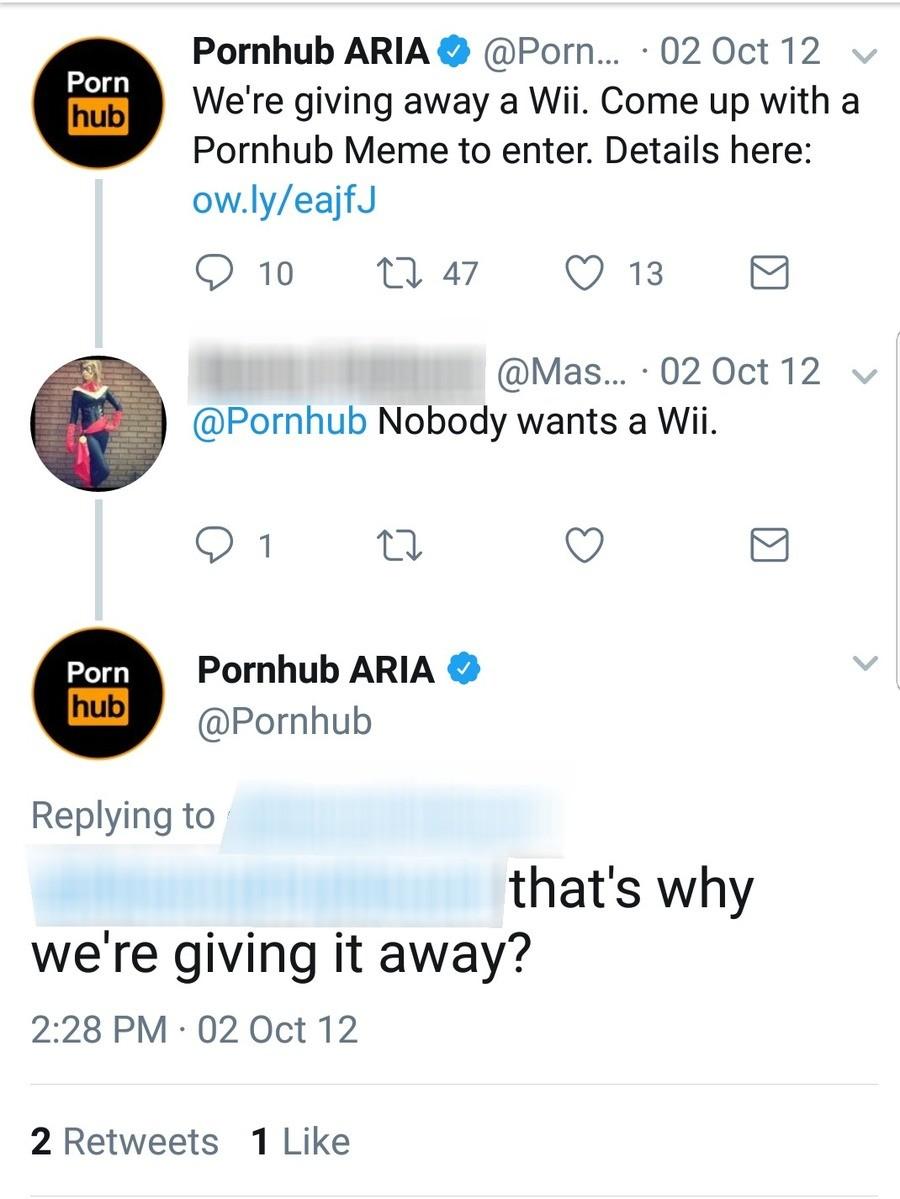 wheres reggie. . Pornhub ARIAL @Porn... q 02 Oct 12 we ll) We' re giving away a Mi. Come up with a Pornhub Meme to enter. Details here: Pornhub Nobody wants a W